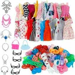 32 Pack Barbie Doll Party Gown Outfits Clothes Shoes Glasses