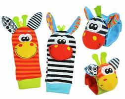 4pcs Cute Animal Infant Baby Kids Hand Wrist Bell Foot Sock