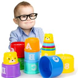 9PCS Early Education Baby Toys Figures Letters Folding Stack