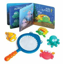 Baby Bath Squirt Sea Toys W/ Shark Net & Educational Waterpr