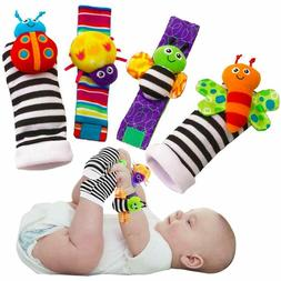 Baby Foot Finders Wrist Rattles Multi Textured Patterns Soft