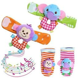 Acekid Baby Rattle,4pcs Infant Wrists Rattle and Foot Finder