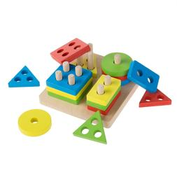 Baby Toddler Kids Puzzle Early Learning Toy Wood Colors Shap