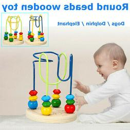 Baby Wooden Toys Mini Round Beads Wire Maze Colorful Educati