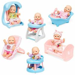 BCP Set of 6 Kids 5in Hand-Sized Baby Doll Toys w/ 6 Loungin