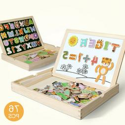 Children Baby Educational Wood 76 Magnetic Puzzle Early Lear