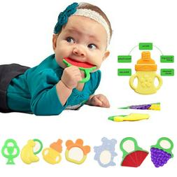 Cute Baby Teething Toys Soft Silicone Fruit Teether Holder S