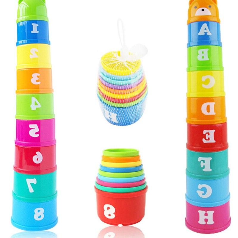 8PCS Educational <font><b>Baby</b></font> 6Month Figures Stack Early Intelligence Alphabet for