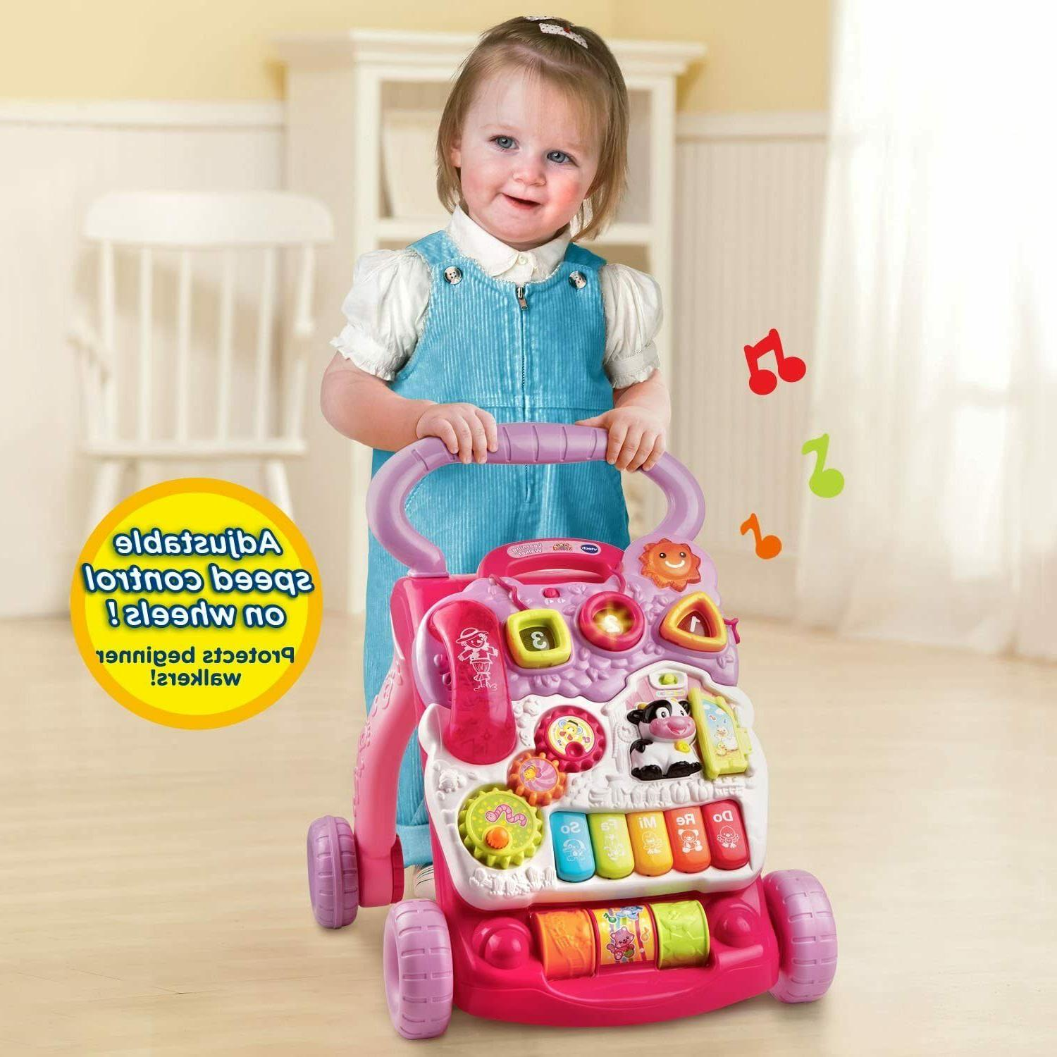 VTech Baby Push Toddler Interactive Learning Toy Sit-to-Stand Pink
