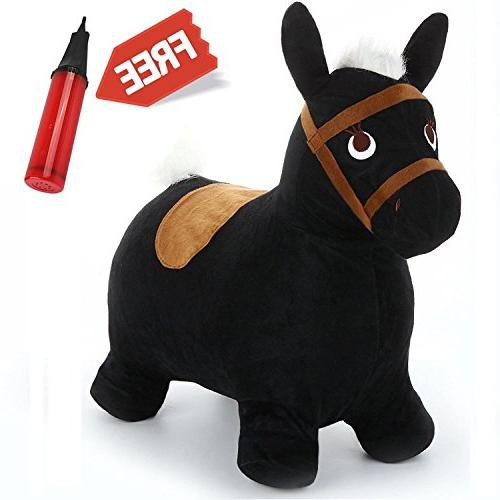 Black Hopping Horse, Outdoors Ride On Bouncy Animal Play Toy