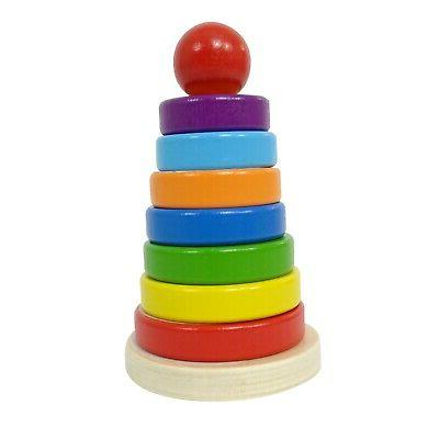 Eliiti Wooden Rainbow Stacking Toy Puzzle Toddlers 2 to Years Old