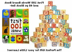 LARGE 40pc Wooden ABC Block Set w/ First 100 Words Childrens
