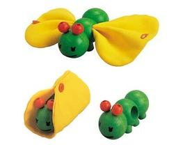 NEW PlanToys Wooden Caterpillar to Butterfly manipulative ba