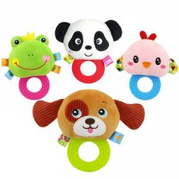Rattles Toy For Infant Baby Kids Ring Interactive Animal Plu