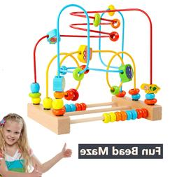 Wooden Baby Toddler Toys First Bead Maze Roller Coaster Educ