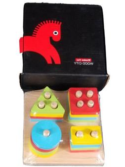 WOOD CITY Wooden Sorting & Stacking Toys for Toddlers, E